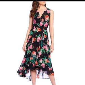 New Calvin Klein black floral dress chiffon maxi